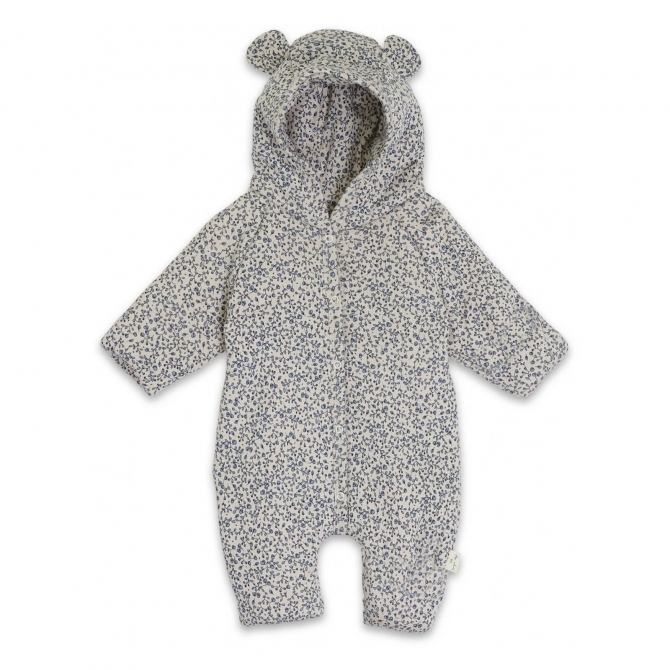 New born onesie with hood Blue Blossom Mist beige-blue - Konges