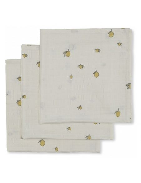 Konges Slojd 3 pack Muslin Cloth lemon