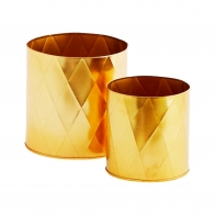 Set of 2 iron planters gold