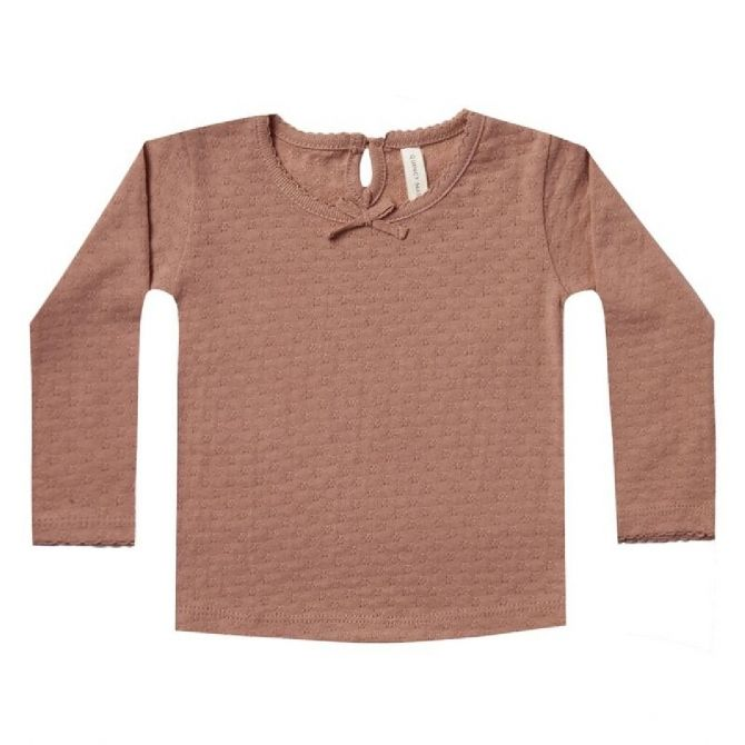 Quincy Mae Pointelle Longsleeve Tee brown