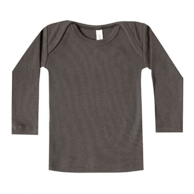 Quincy Mae Ribbed LS Lap Tee dark grey