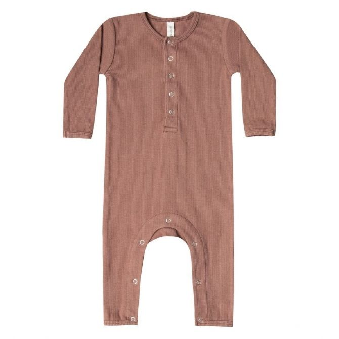 Quincy Mae Ribbed Baby Jampsuit brown