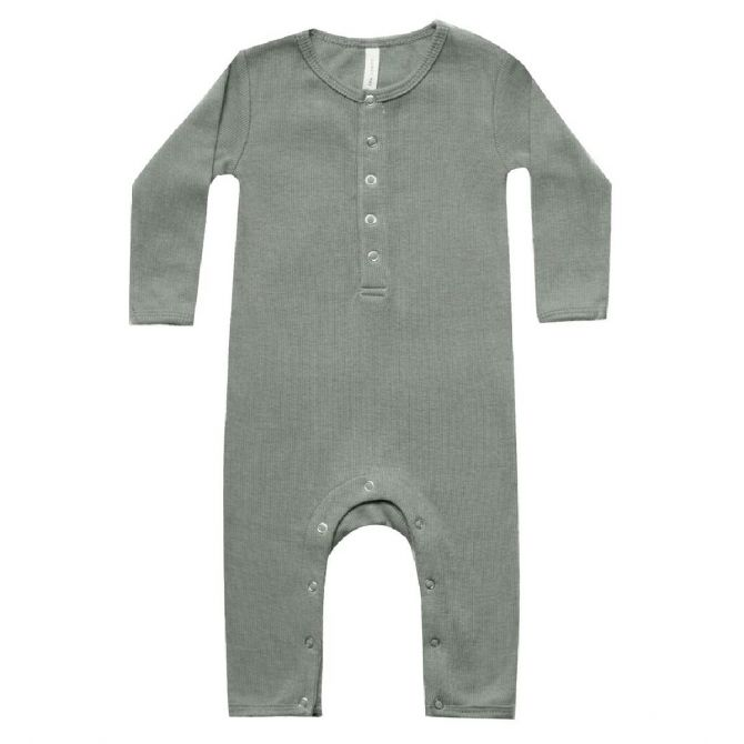Quincy Mae Ribbed Baby Jampsuit green