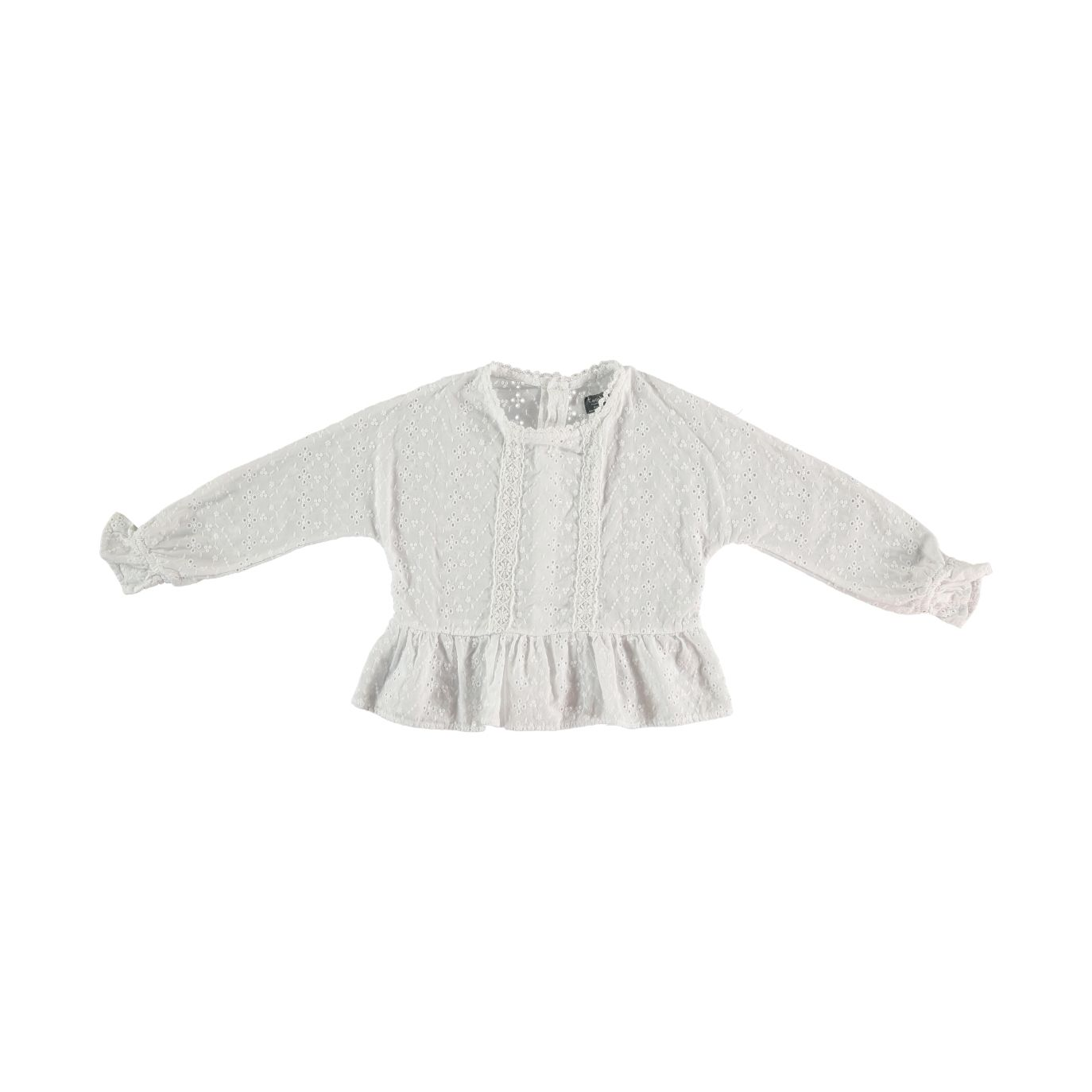 Swiss embroidered long sleeved blouse with lace and flounced hem