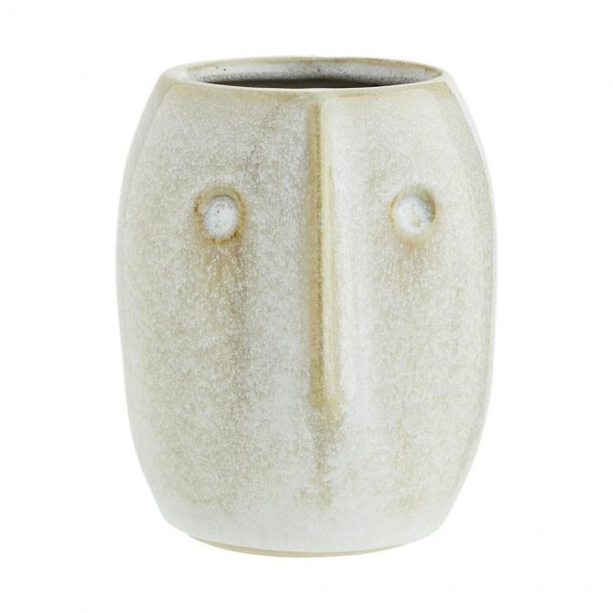 Madam Stoltz Flower Pot With Face Imprint White 8x10 cm