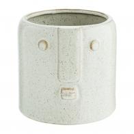 Flower Pot With Face Imprint White 11,5x10,5 cm