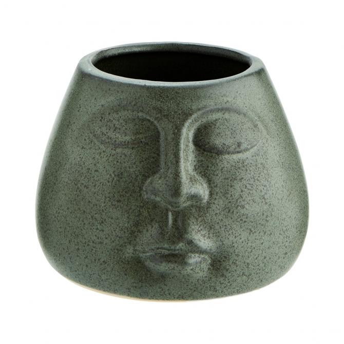 Madam Stoltz Stoneware Flower Pot Matt Green 10,5x8cm
