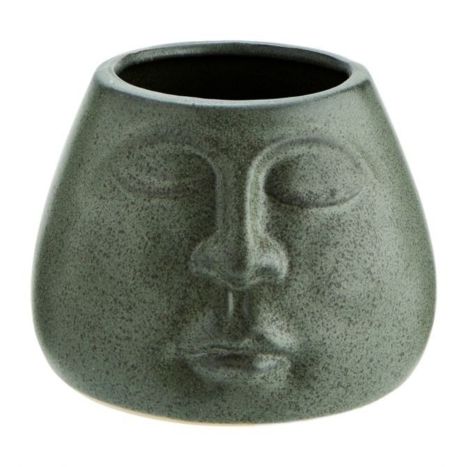 Madam Stoltz Stoneware Flower Pot Matt Green 13,5x10 cm