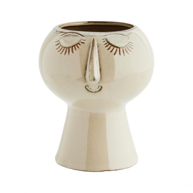 Madam Stoltz Flower Pot With Face Imprint Beige 11,5x11,5 cm