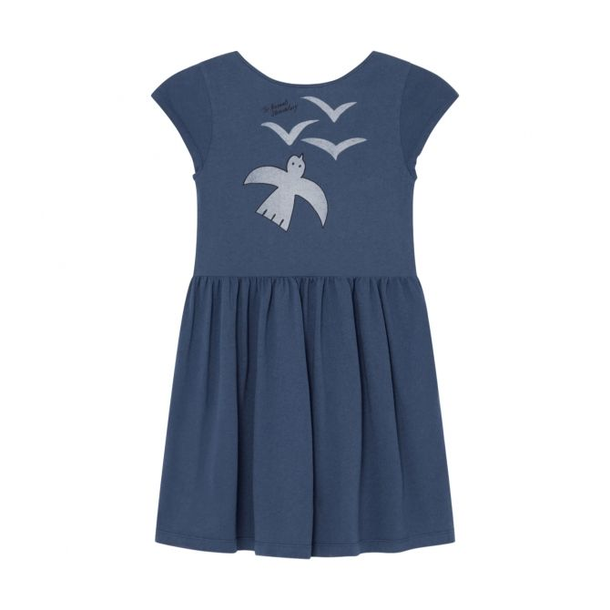 The Animals Observatory Butterfly Kids Dress Navy Blue