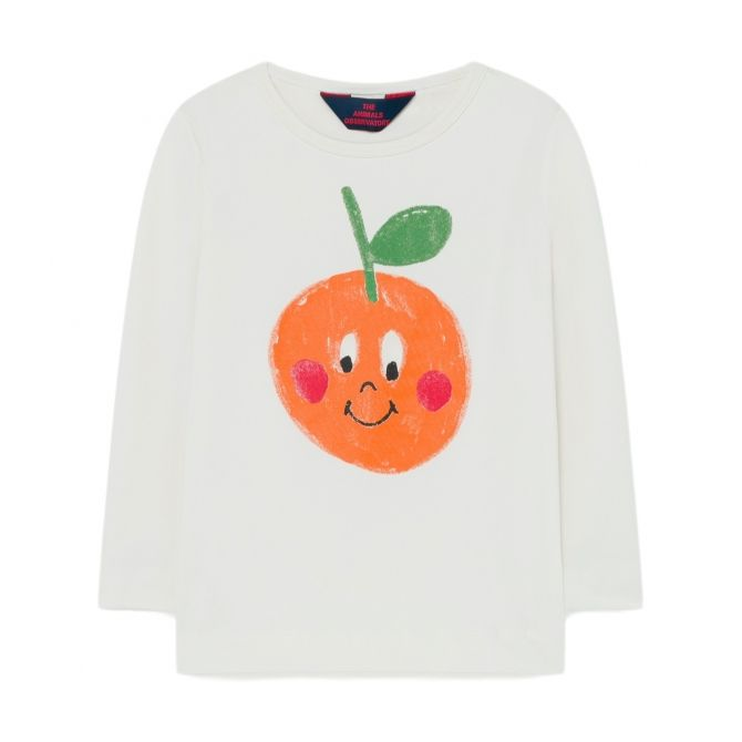 The Animals Observatory Deer Kids T-shirt White With Apple