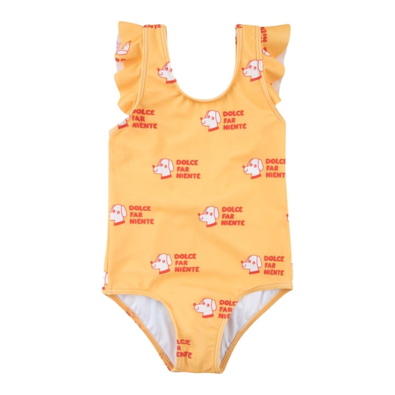 Tiny Cottons Dogs Frills Swimsuit Yellow