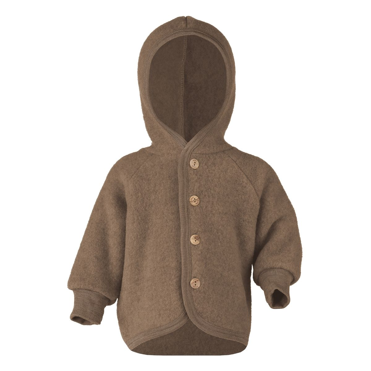ENGEL Hooded jacket with wooden buttons brown