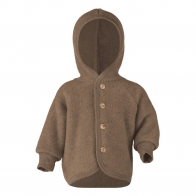 Hooded jacket with wooden buttons brown