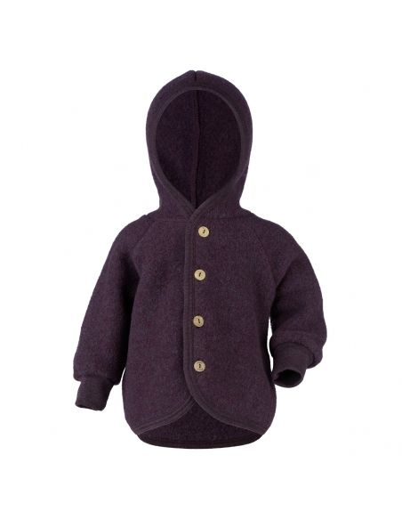 ENGEL Hooded jacket with wooden buttons dark purple