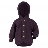 Hooded jacket with wooden buttons dark purple