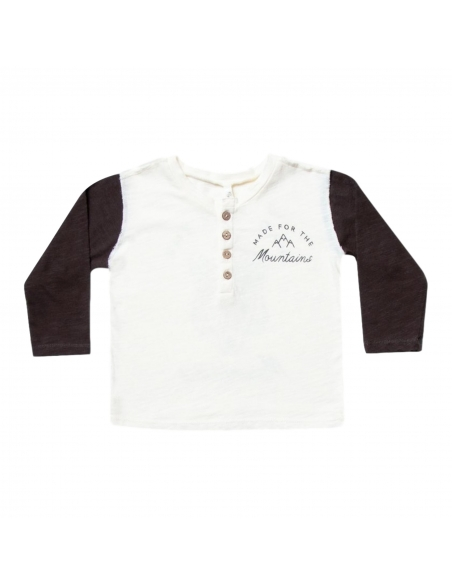 Rylee and Cru - Longsleeve Henley Mountains white - 1