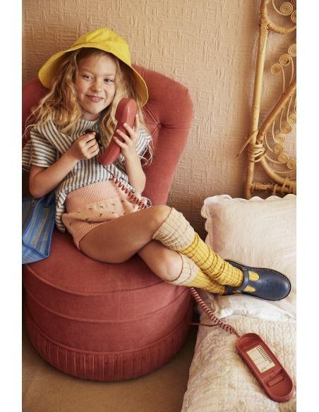 Young Soles Półbuty Penny Leather T-Bar Shoe Ocean Blue