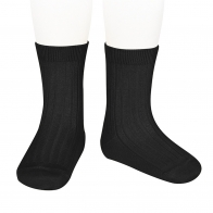 Basic Rib Short Socks black