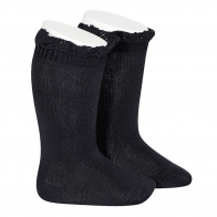 Knee Socks With Lace navy blue