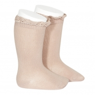 Knee Socks With Lace old rose