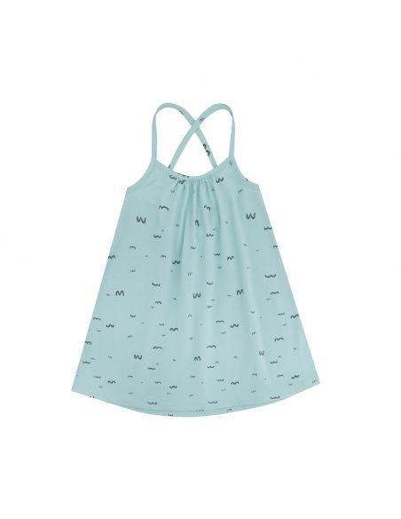 Chmurrra Burrra Seagulls Dress Turquoise