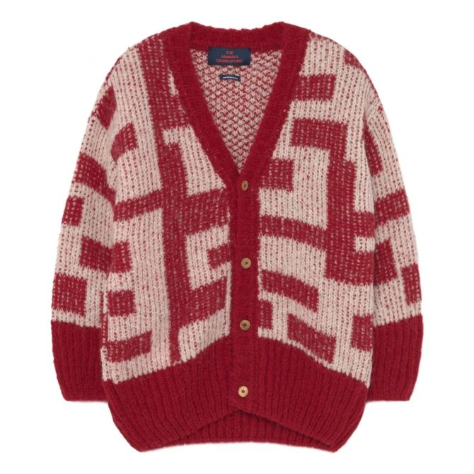 The Animals Observatory Racoon Kids Cardigan red