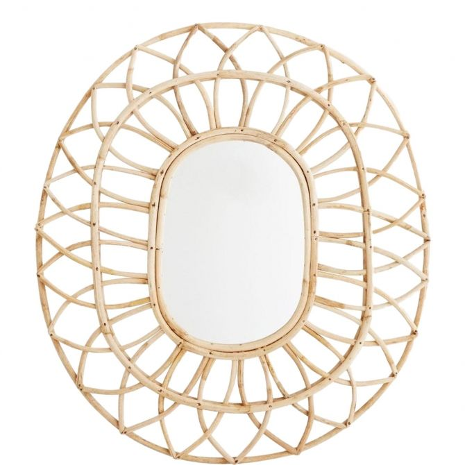 Madam Stoltz Oval mirror with bamboo frame