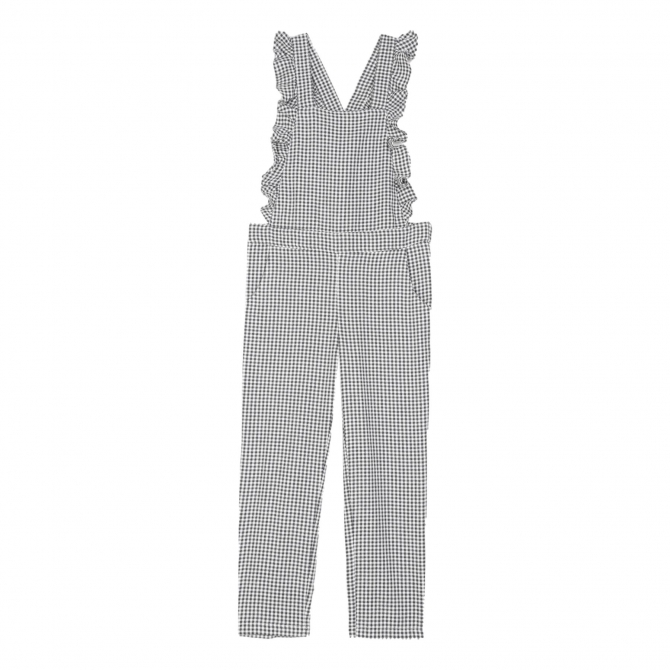 Emile et Ida Dungaree Gingham vichy checked black and white