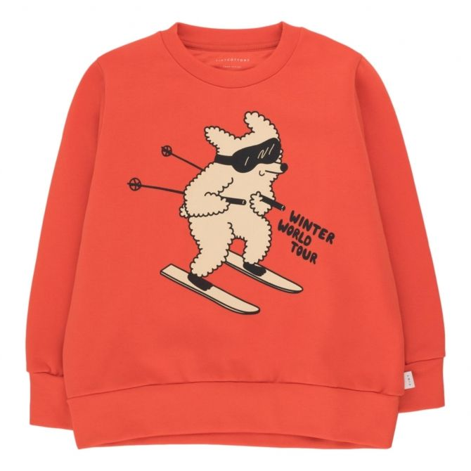 Tiny Cottons Skiing Dog Sweatshirt red