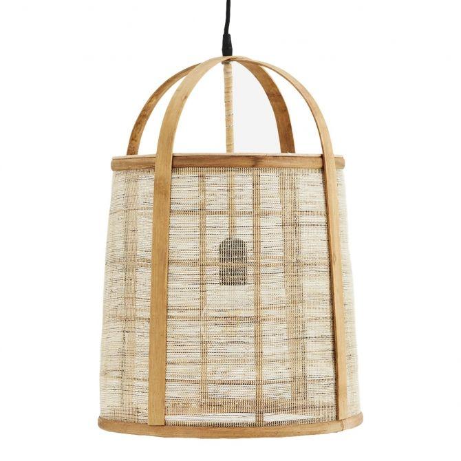 Madam Stoltz Bambusowa lampa z lnem