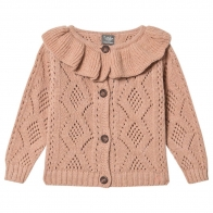 Knitted open work Cardigan Pink