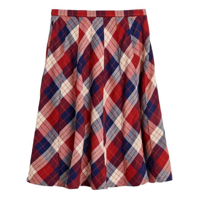 Bellerose Ines Checked Skirt red