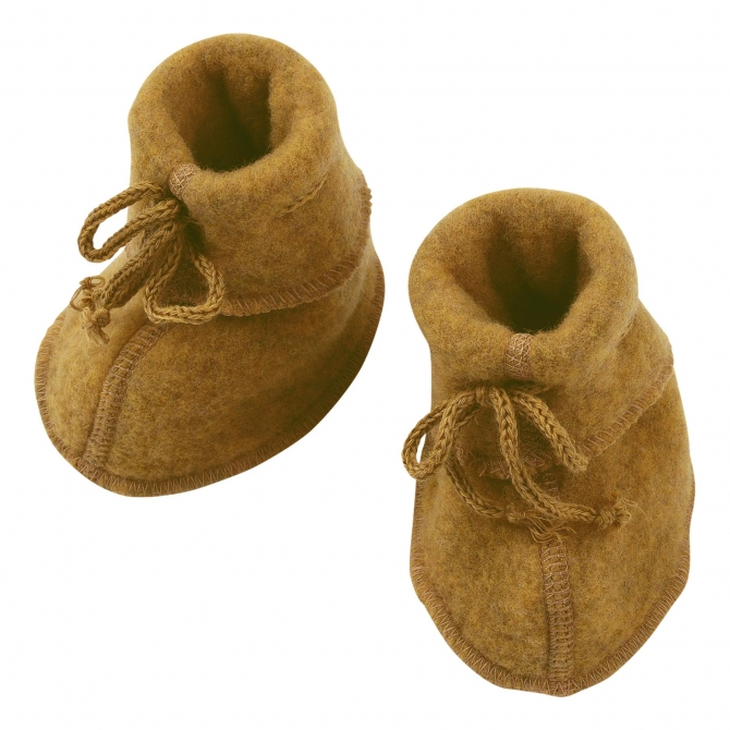 ENGEL Baby-bootees with ribbon saffron mustard