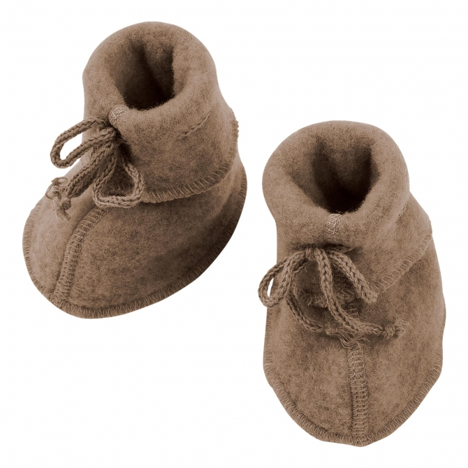 ENGEL Baby-bootees with ribbon walnuss brown