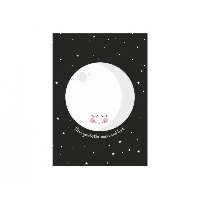 Plakat Moon czarny - Eef Lillemor