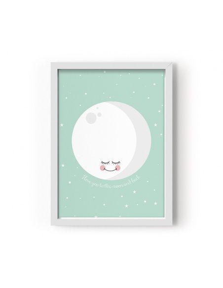 Plakat Moon miętowy - Eef Lillemor