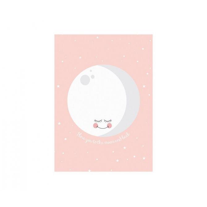 Plakat Moon różowy - Eef Lillemor
