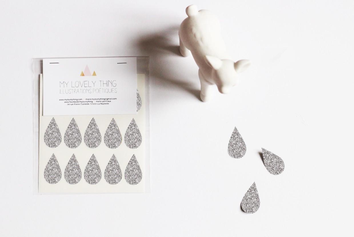 Naklejki Stickers Drop silver kropla srebrna
