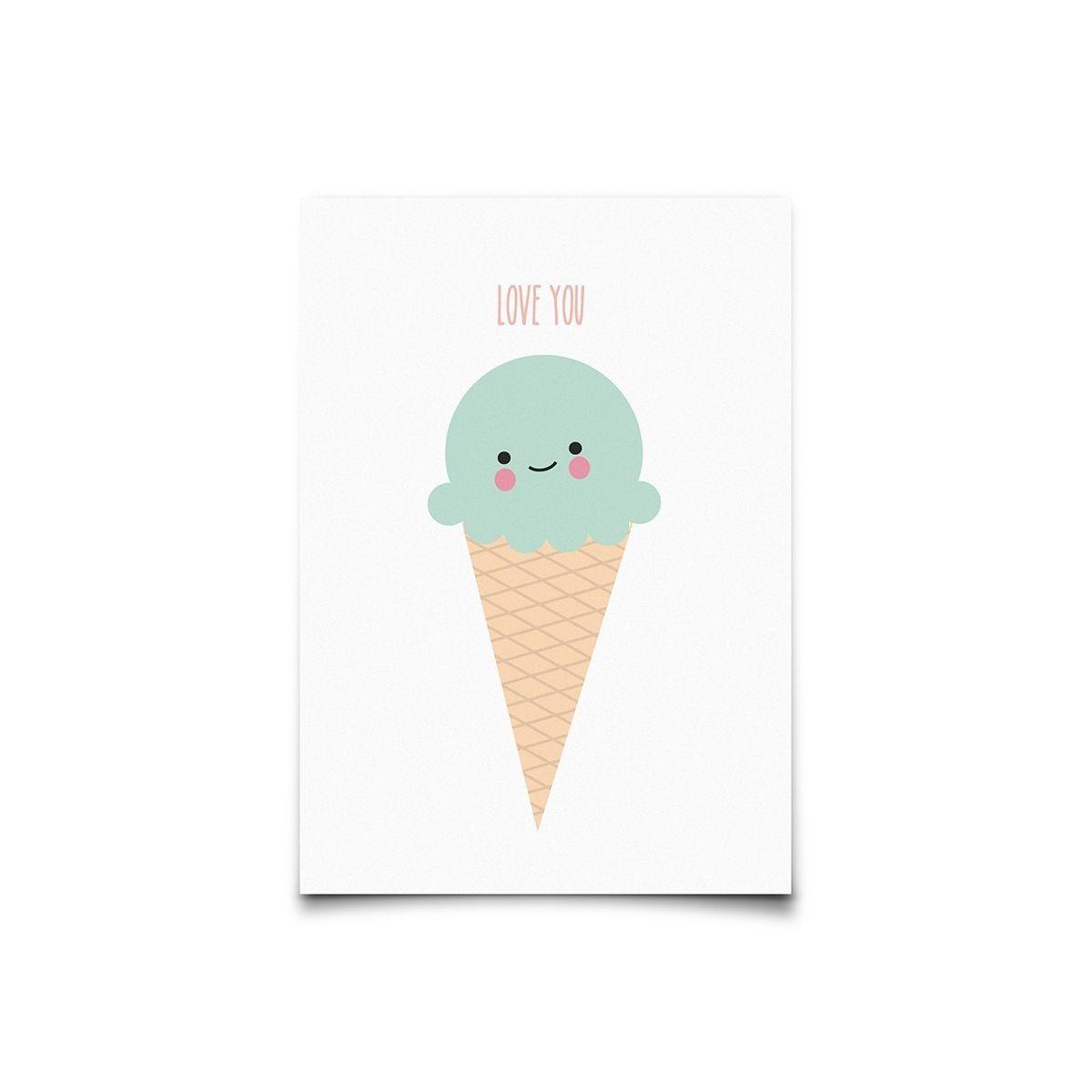 Postcard Ice Cream Cone - Eef Lillemor