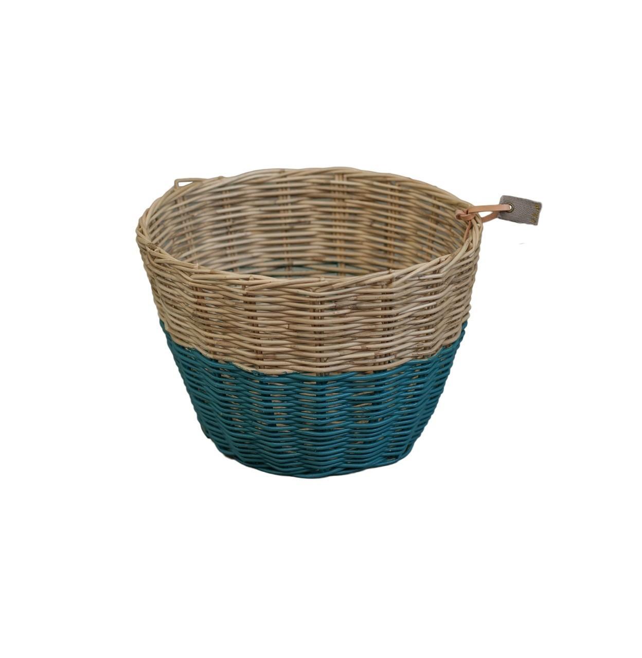 Koszyk Basket rattan rattanowy teal blue ciemny morski