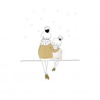 Postcard Love Mum and Girl winter