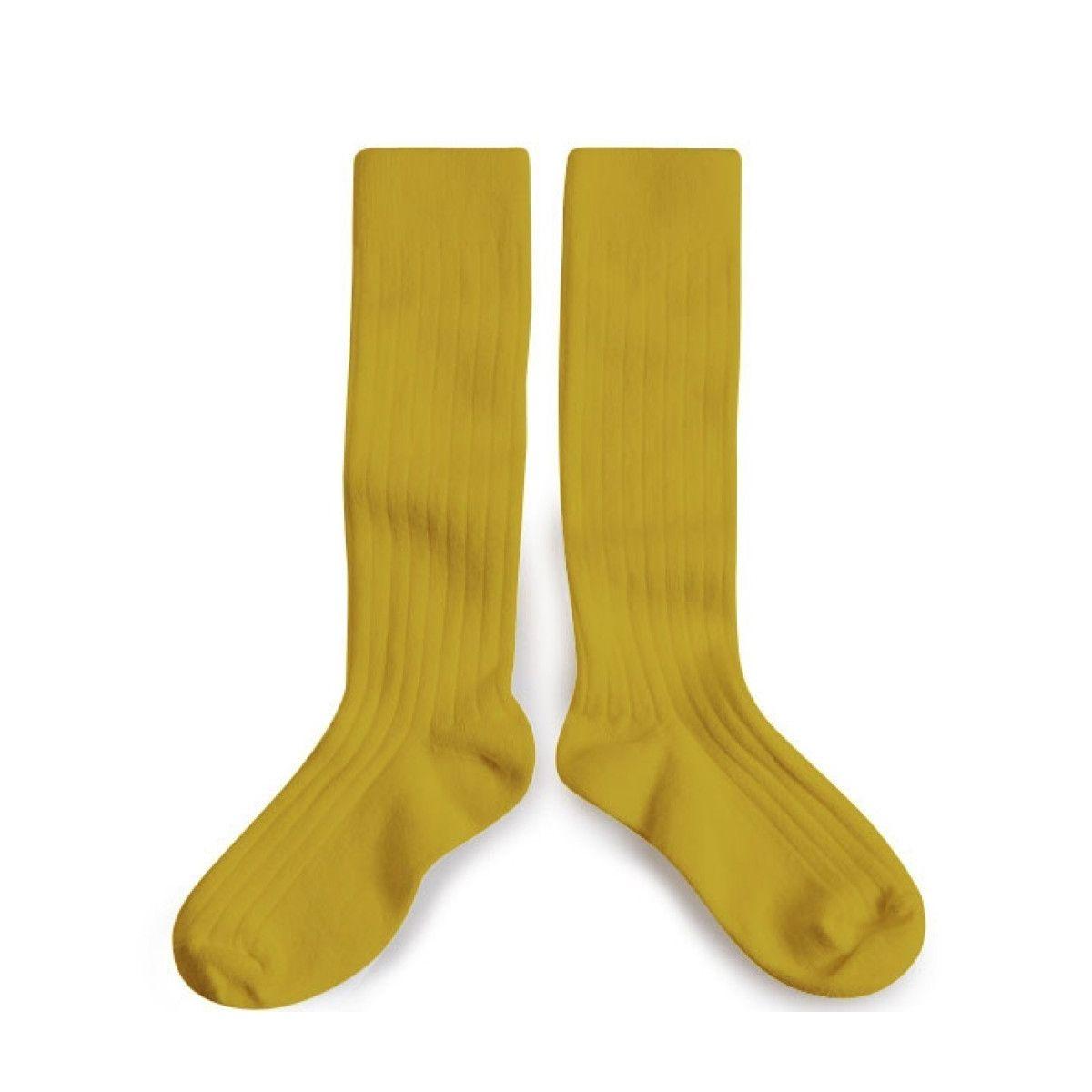 Podkolanówki Kneesocks CROCODILE yellow żółte - Collégien