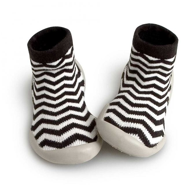 Collégien Slipper Socks Zig Zag black white