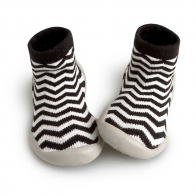 Slipper Socks Zig Zag black white
