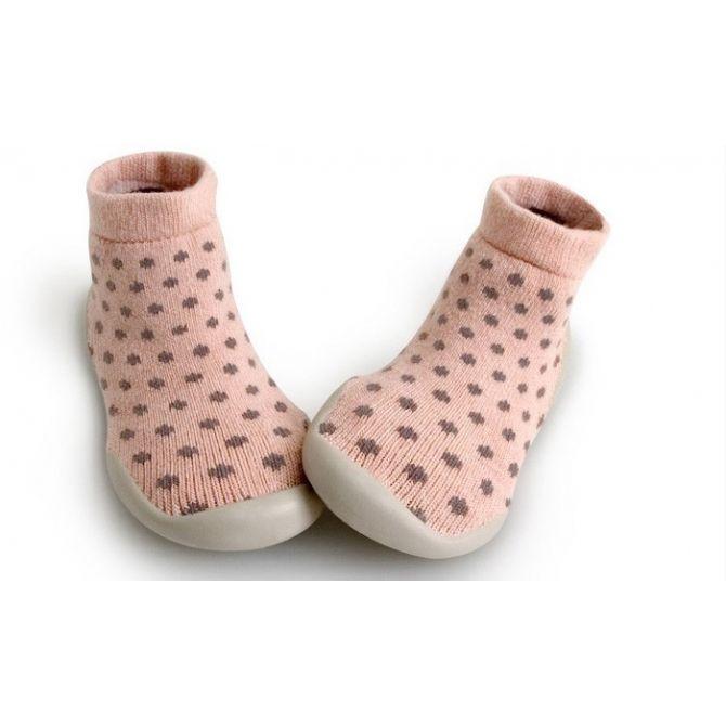 Kapcie Nid douilet Creamy różowe kropki - Collégien