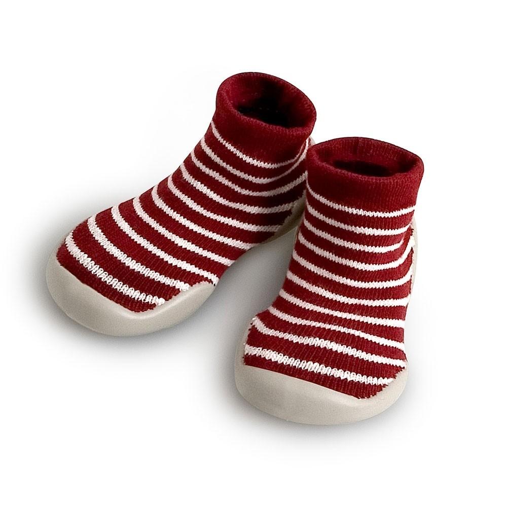 Slipper Socks Erable stripes marron white