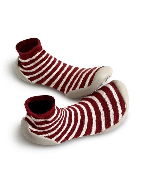 Collégien Slipper Socks Erable stripes marron white