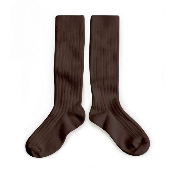 Podkolanówki Kneesocks Cafe Noir dark brown ciemny brąz -
