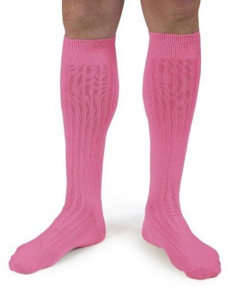 Podkolanówki Kneesocks Rose fluo neon pink odblaskowy róż -